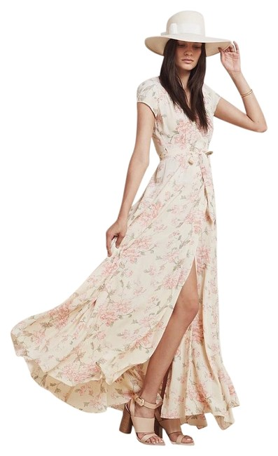 Item - Beige/Pink Floral Lake Long Casual Maxi Dress Size 4 (S)