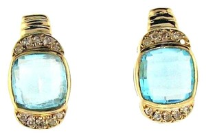 Other 18k gold 3 1/2 cts blue topaz &1/5 ct cut diamond earrings