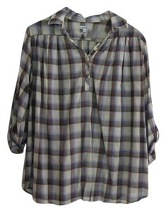 Steven Alan Popover Plaid Button Down Shirt Cobalt Cocoa and Cream