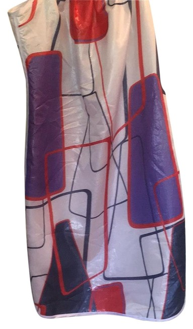 Item - White Blue Red Lame Shift Short Night Out Dress Size 6 (S)