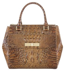 Brahmin Embossed Leather Satchel in Toasted Almond