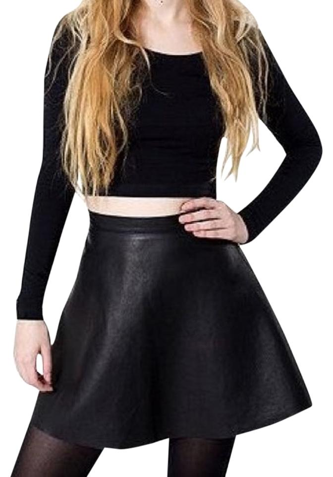 afe524e47e American Apparel Black Lambskin Leather Circle Skirt Size 4 (S, 27 ...