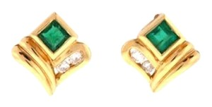 14K Gold, Emerald & diamond stud earrings