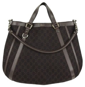 Gucci Removable Strap Brand New Logo Print Tote in Chocolate