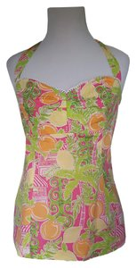 Lilly Pulitzer Designer Beach Resort Tropical Yellow, pink, turqoise, green, white Halter Top