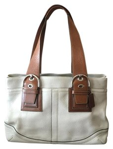 Coach Leather Satchel in Winter white with saddle brown trim