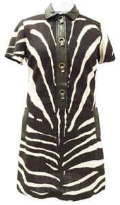 Michael Kors short dress Brown and White Zebra Print Kdy416p Shirt Short Sleeves Linen on Tradesy