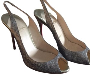 Christian Louboutin Silver gillter gold heel Formal