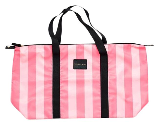 Item - Carryall Packable Tote with Matching Limited Edition Pink White Striped Nylon Weekend/Travel Bag
