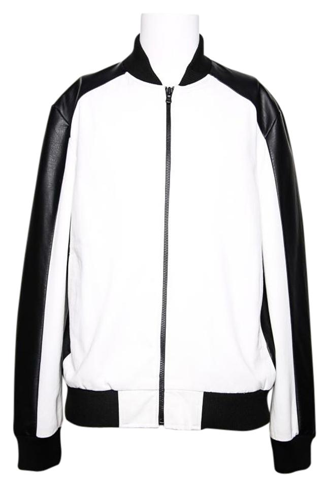 2d727f99a684 Kenneth Cole Men s White New York Faux Leather Trim Bomber Jacket ...