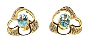 Other 14K Gold, Aquamarine & 1/4 ct diamond earrings