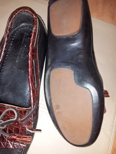 Cole Haan Vintage Leather Mens Alligator Black/Brown Flats
