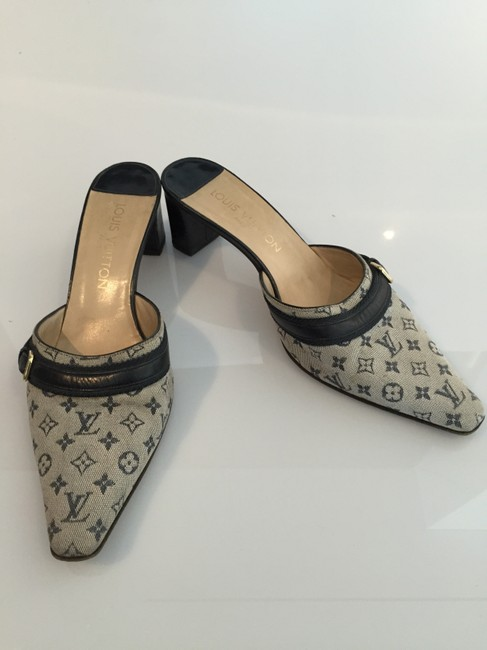 Item - Black and Gray Monogrammed Mules/Slides Size US 7.5