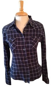 For Joseph Button Down Shirt Blue Black