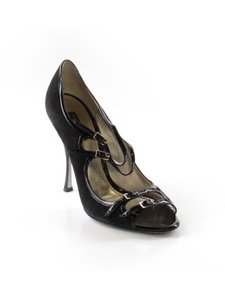 Dolce&Gabbana Patent Leather Suede Peep Toe Strappy Black Pumps
