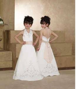 Forever Yours Size 10 Ivory/ Baby Pink Flower Girl Dress