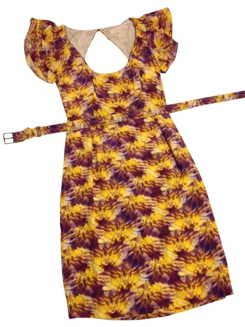 Item - Floral Belted Ruffle-sleeve Mid-length Cocktail Dress Size 2 (XS)