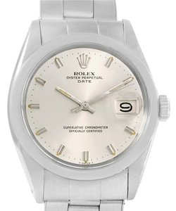 Rolex Rolex Date Vintage Mens Stainless Steel Silver Dial Watch 1500