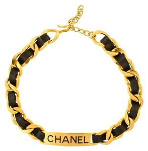 Chanel Auth Chanel Vintage Gold Chain Black Leacher Nameplate Choker Necklace