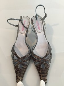 Eden Embossed Snake Blue Sandals