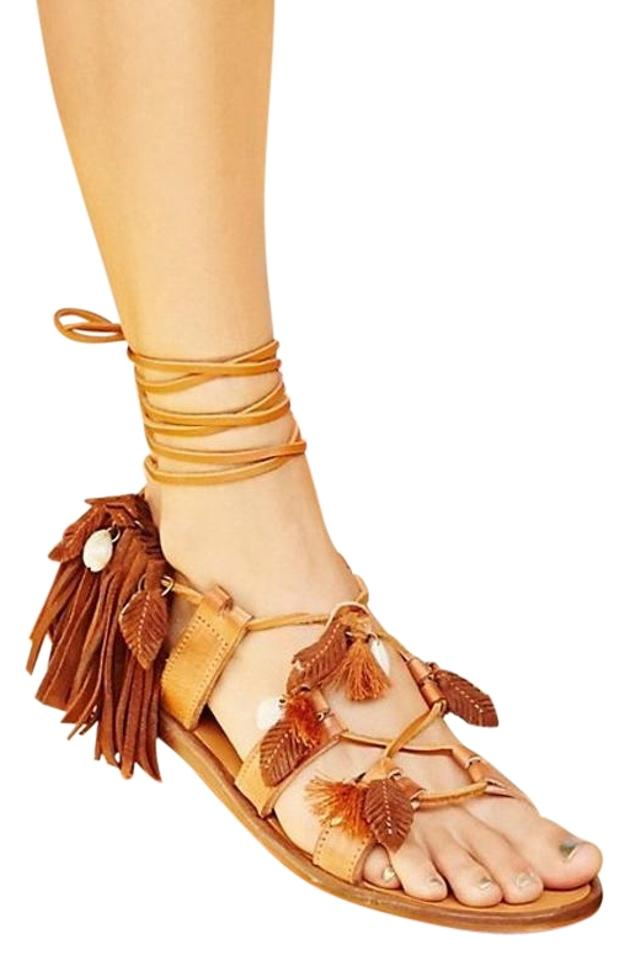 cba5637563a0 Free People Brown Suede Wind Swept Shell Feather Lace Up Sandals. Size  US  10 Regular (M ...