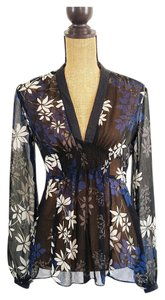 New York & Company Floral Sheer Empire Top black, blue,white