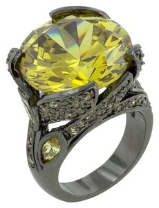 Hematite Yellow Stone Cocktail Ring [SHIPS NEXT DAY]