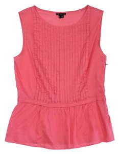 Theory Pink Cotton Pintuck Flared Top