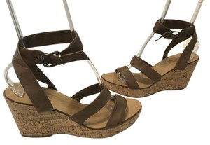 J.Crew Wrap Ankle Cork Base Italian Brown soft leather strappy open Wedges