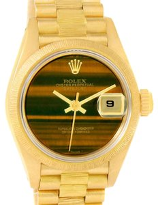 Rolex Rolex President Datejust Ladies 18k Yellow Gold Tiger Eye Watch 69278