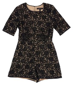 BCBGMAXAZRIA Black Floral Lace Overlay Short Sleeve Dress