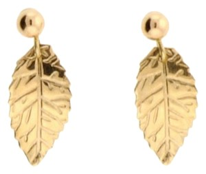 Other 14 karat yellow gold drop feather earrings