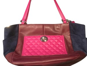 Coach Leather Suede Patchwork Pink Tote in Burgundy