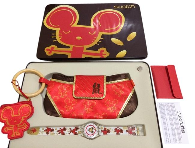 Item - Red/White/Gold Box Rare New In Tin Cute Rats Ge201 + Purse Watch