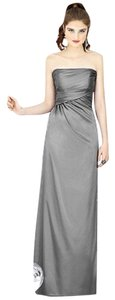 Dessy Bridesmaid Bridesmaid Silk Long Gray Grey Dress