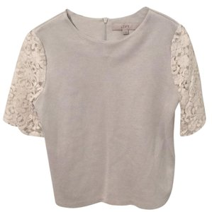 Ann Taylor LOFT Top Light grey & ivory