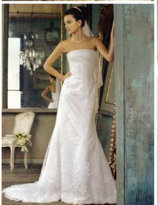 David's Bridal White Lace Michaelangelo T8722 Strapless All Over Beaded Gown Destination Wedding Dress Size 10 (M)
