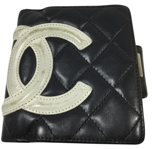 Chanel Chanel Cambon Black Leather Quilted Wallet