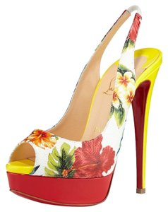 Christian Louboutin Slingback Platform Red Yellow White Multi Pumps