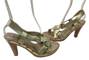 Franco Sarto Lining Buckles Gold leather strappy wood platform Sandals