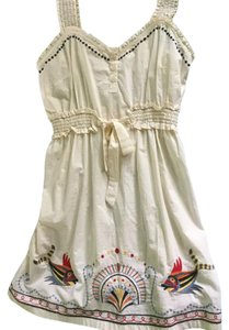 Anthropologie short dress Off white Embroidered Colorful on Tradesy