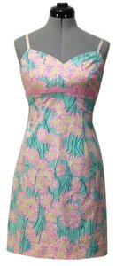 Lilly pulitzer dress short dress Pink , mint green Strapless on Tradesy