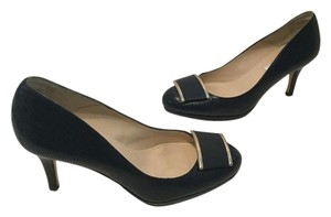L.K. Bennett Padded Insoles Navy embossed all leather E36 Pumps