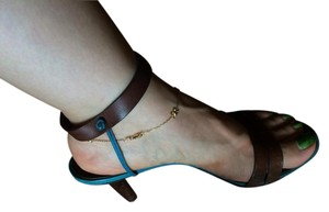 Michel Vivien Brown and Turquoise Sandals
