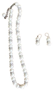 Unknown Pearl and white crystals necklace with matching earrings