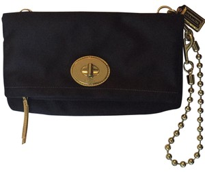Coach Satin Foldover Black Clutch
