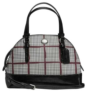 Coach Pvc Leather Peyton Domed Nwot Satchel in Plaid/Silver