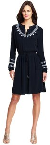 Adrianna Papell Embroidered Pleated Peasant Dress