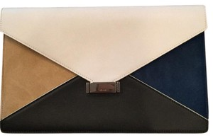 Céline Black, White, Brown, Blue Clutch