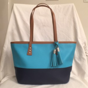 Cinda B Leather Small Tote in Blue Turquoise Tan